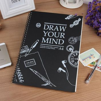 HOT A4 Sketchbook Diary drawing Painting graffiti Skech book paper 59 sheets Spiral Notebook Office School Supplies gift
