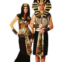 Halloween Adult Costumes Egyptian King Pharaoh performance Cleopatra Royal Queen sequin dress Couple costume women+men 2pcs