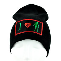 I Love Zombies Beanie Creepy Heart Gothic Halloween Cap