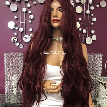 """Red Burgundy Swiss Lace Front Wig 26""""   Joni  0818"""