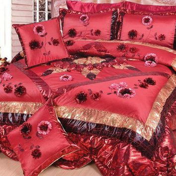Crimson Cherry Red Floral Garnet Romantic Victorian Elegance Ruffles Comforter Set - Twin - 3 Pieces (BM3795L)