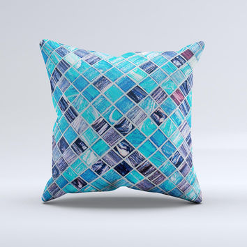Vibrant Blue Glow-Tiles  Ink-Fuzed Decorative Throw Pillow