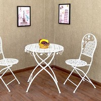 Contemporary and contracted, wrought iron balcony chairs and tables