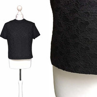 Black 1950's Blouse - 50's Vintage Blouse - Zip Back - UK14 - Black Semi Sheer Lace Blouse