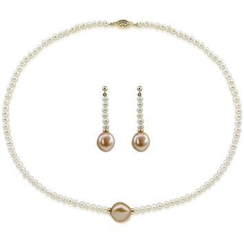 "14k Yellow Gold 12-13mm Pink, 4-5mm White Baroque Freshwater Cultured Pearl Necklace 20"" and earring sets"
