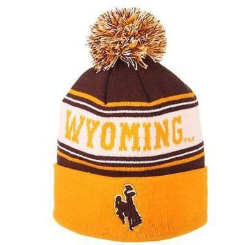 Licensed Wyoming Cowboys Official NCAA Finish Line Adjustable Beanie Knit Sock Hat Zephyr KO_19_1