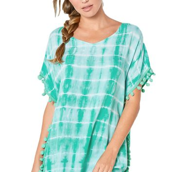 Green Pom Pom Trim Tie Dye Print Beach Cover Up