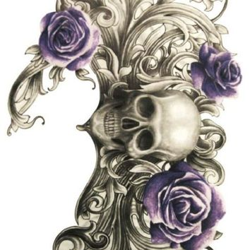 Body Art Beauty Makeup Pink Sexy Dangerous Sexy Skull and Purple Rose Tattoo Waterproof Temporary Tattoo Stickers