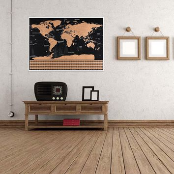 Deluxe Scratch Edition World Map Home Decoration 22x32
