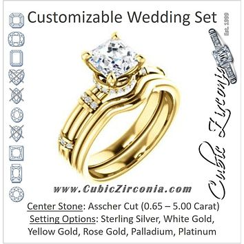 CZ Wedding Set, featuring The Jayla engagement ring (Customizable Asscher Cut Style with Under-Halo & Horizontal Band Accents)