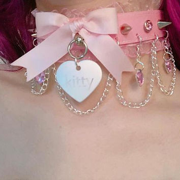 MADE TO ORDER: Pink Luxury Faux Leather Ruffle Pastel Kitty Diamond Hearts Rhinestone Spike Chain Collar