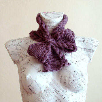 Hand knitted woman purple bow neck warmer - Pull through scarf, Woman winter fashion