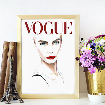 Cara Delevingne Poster Cara Delevingne Vogue Cover Art Archival Prints Four sizes Watercolour Fashion Illustration Prints Vogue Art Titled