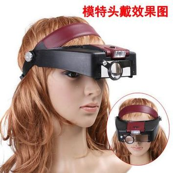 New Wearing Magnifier 10 X Magnifying Glass Loupe with LED Light Jewel Repair illumination