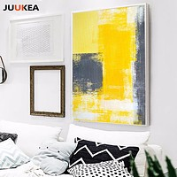 2017 Triptych Modern Abstract POP Yellow Gray Minimalist Decoration Canvas Painting Wall Picture For Living Room Home Decor