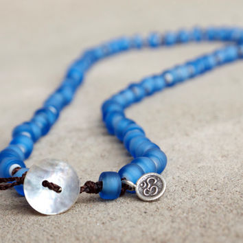 Blue bracelet or necklace Sky blue matte glass bead layered bracelet Shell button convertible Silver 925 Om namaste charm Gift for teen girl