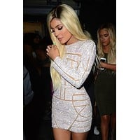 Kylie Jenner Sexy Long Sleeves Crystal Mini Celebrity Dresses 2017 Fashionable Short Prom Dresses Open Back Party Dresses M1339