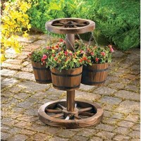 Rustic Wagon Wheel Garden Planter