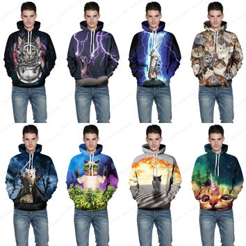 Cats Print Mens Skateboarding Hoodies & Sweatshirts Purple Lightning Cat Sweater Galaxy Kitty Hooded Jumper Pullover Tracksuits