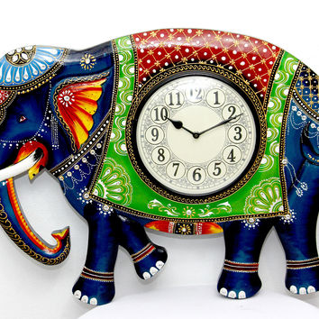 Aakashi Carved Elephant Wall Clock