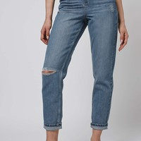 MOTO Mid Blue Rip Mom Jeans - Topshop