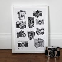 Say Cheese Vintage Camera Print