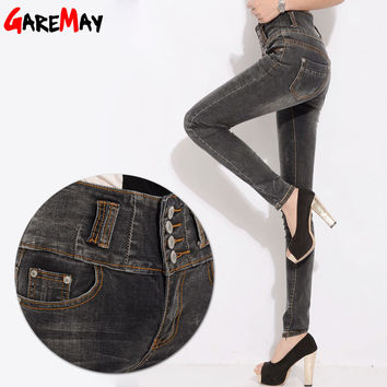 women pants high waist jeans denim 2016 new cotton slim tight designer blue jeans pant for women skinny Elastic waist
