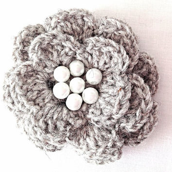 Silver gray highland shetland wool crocheted flower brooch revamp bag dress hat purse pouch