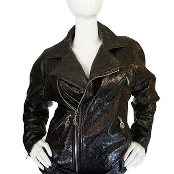 1990s Gianni Versace Patent Leather Motorcycle Jacket