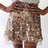 Women Fashion Sequin Gauze Lace High Waist  Skirt