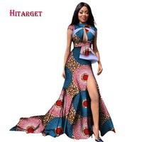 New Autumn Long Dress African Short Sleeve Sexy Deep Chest Long Dress