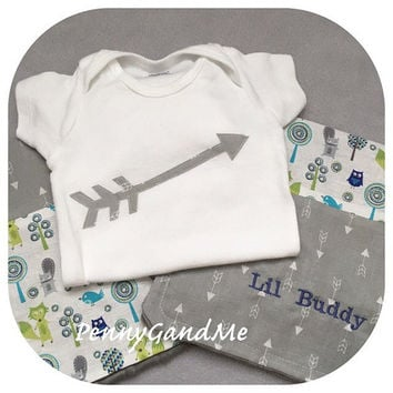 Woodland Baby Gift Set ~ Minky Burp Cloths and Onepiece ~ Owl, Fox, Birds ~ Personalized w/ Name or Monogram ~ Gender Neutral ~ Baby Gift