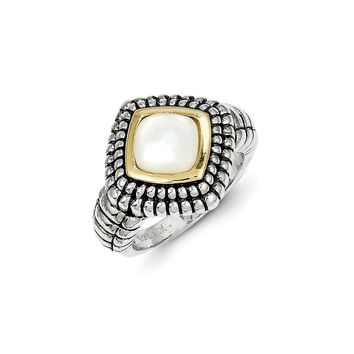 Antique Style Sterling Silver with 14k Gold Mother of Pearl Ring