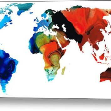 Map Of The World 3 -colorful Abstract Art Metal Print