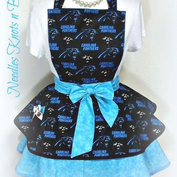 Carolina Panthers Womens Apron, Womens Flirty Panthers Apron, Gifts for Women, Football Apron, Game Day, Bridal Shower Gift