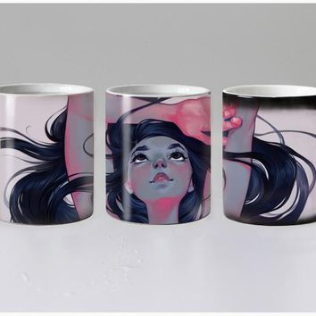Girl Heat Reveal Ceramic Color Changing Coffee Mugs