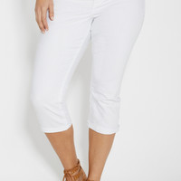 plus size Ellie capri in white with back flap pockets | maurices
