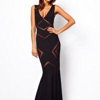 Forever Unique Plunge Neck Maxi Dress with Mesh Inserts