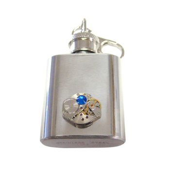 1 Oz. Stainless Steel Key Chain Flask with Steampunk Watch Gear Pendant and Blue Swarovski Crystal