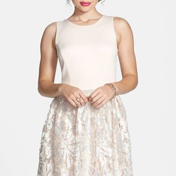 Junior Women's Love, Nickie Lew Sequin Lace Skater Dress