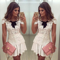 Chiffon Lace Floral Sleeveless V-neck Short Dress