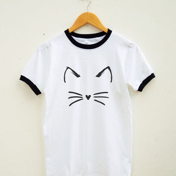 Cute Cat Shirt Cute Shirt Teen Fashion Graphic Tumblr Shirt Unisex Tee Shirt Women Tee Shirt Men Tee Shirt Ringer Shirt Short Sleeve Shirt