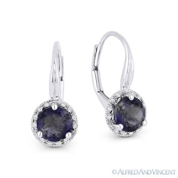 1.45ct Round Cut Iolite Gem & Diamond Leverback Baby Earrings in 14k White Gold