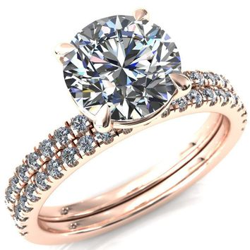 Alessandra Round Moissanite 4 Claw Prong Diamond Accent Engagement Ring