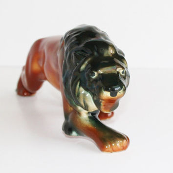 Amazing Caramel Black Ombre Ceramic Lion Figurine / Eames Era Mod California Art Pottery / Leo Zodiac Detroit Lions / Office Bookshelf Decor