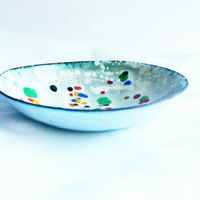 White and Multicoloured Speckled Enamel Bowl