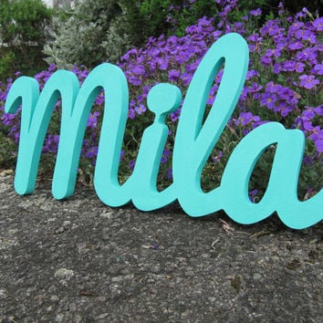 Custom Made sign  Mila, Personalised  Wooden Name Sign for Boy or  Girl, Christmas gift , Door Plaque, Made to order signs,  Nursery