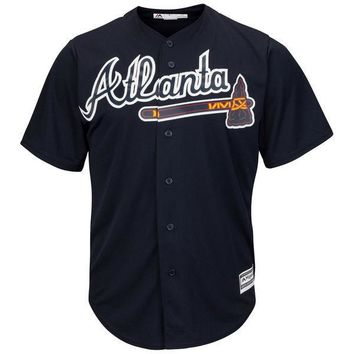 Atlanta Braves Cool Base MLB Custom Blue Jersey