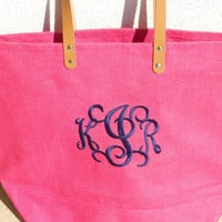Monogrammed Jute Bag  Font Shown INTERLOCKING