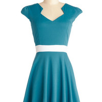 Cap Sleeves A-line The Story of Citrus Dress in Turquoise